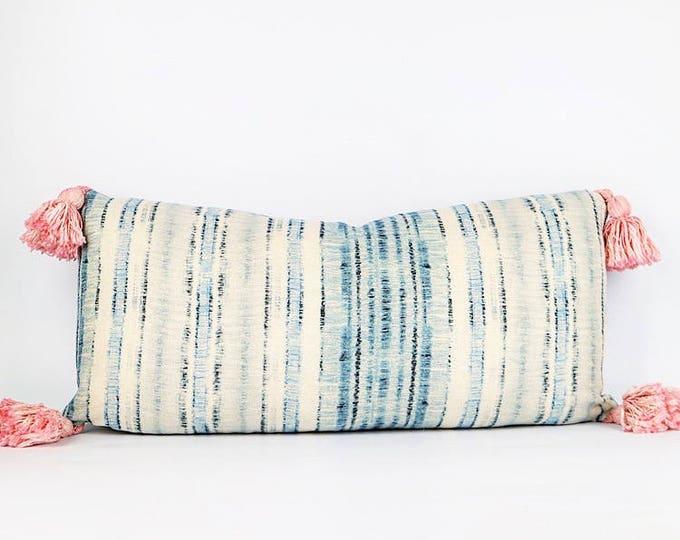 Belgian Linen And Pink Tassel Lumbar Pillow Cover 11x23