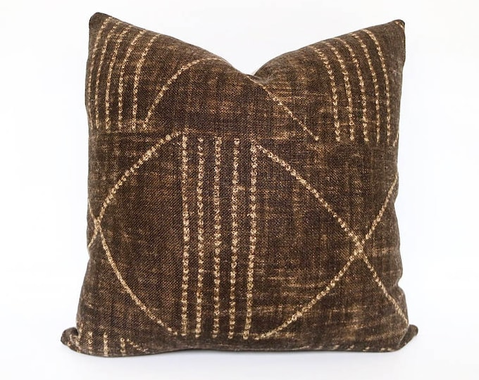 Handmade Heavy Weight Brown Tribal African Print Linen Pillow Cover 20x20