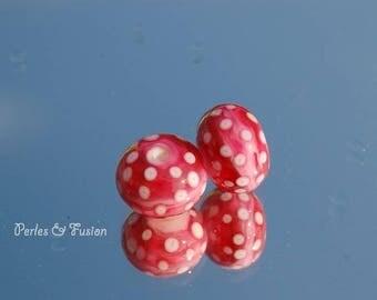 Set of 2 glass beads handmade Lampwork * Pink * Pink/White - glass Lampwork - beads - polka dot earrings - murano beads