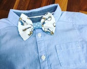 Peter Rabbit Cottontail bow tie for baby boys age 12 months to 5 years with blue details and velcro fastening
