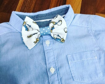 PRE ORDER Peter Rabbit Cottontail bow tie for baby boys age 12 months to 6 years with blue details and velcro fastening