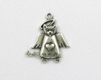 Sterling Silver Angel Cat Charm