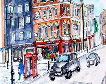 LONDON. ENGLAND. Covent Garden. United Kingdom. Painting Of London. Watercolor England.