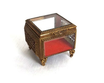 Ormolu Jewelry Casket - Small Square Regal Jewelry Box w Beveled Glass & Red Velvet Lining - Footed Presentation Box w Ormolu Grill Sides