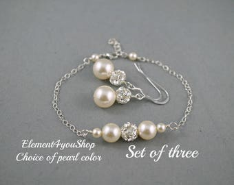 Set of 3 three Bridesmaid jewelry bracelet with earrings Sterling silver chain Swarovski Pearls Wedding Bridesmaids Gifts ivory navy blue