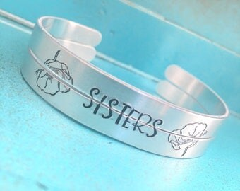 Sisters Bracelet Set, Friendship Jewelry, Friend Gifts For Her, Sisters Birthday Gift, Sister Jewelry, Hand Stamped Skinny Cuff