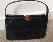 Vintage Bagcraft Monogrammed Black Leather Handbag 1950s With Orange Lucite Clasp Kelly Bag Designer Bag