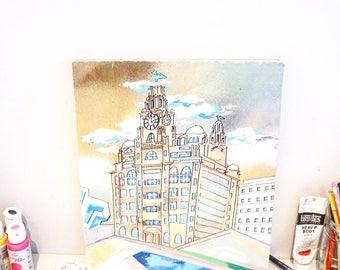 Custom made building paintings, original painting on wood