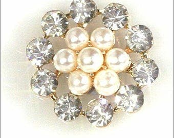 10 x Rose Gold Round Shaped Pearl and Diamante Cluster Button Sparkly Embellishments Gems