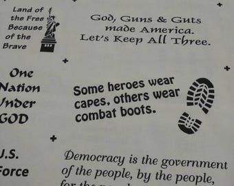 Patriotic Words Fabric per yard/ Vet's Fabric/ 4th of July fabric/ quilting, Crafting, Liberty fabric/ Patriotic fabric