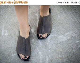 SALE Summer Flats, Grey Leather Sandals, Handmade Sandals, Summer Shoes, Grey Slide Sandals, Sabine