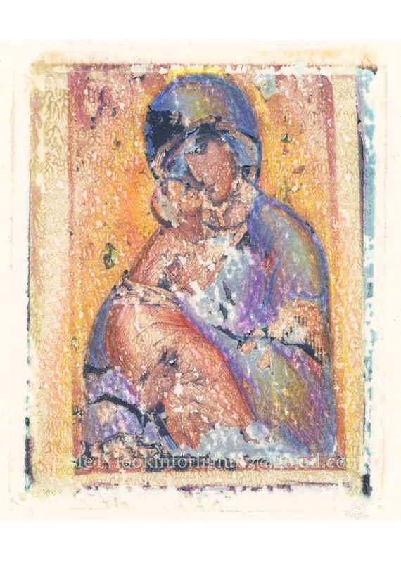 Virgin Mary Art | Polaroid Transfer | Medieval Icon | Russian Madonna | Polaroid Photo Art | Byzantine Art | Digital Download 2 JPEG files