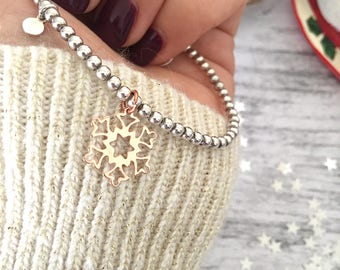 925 silver bracelet with snowflake pendant