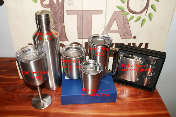 insulated stainless tumblers, cups for sale, stemless wine, stem wine, wine tumbler, flast set, decanter, baby tumbler, sippy cup stainless