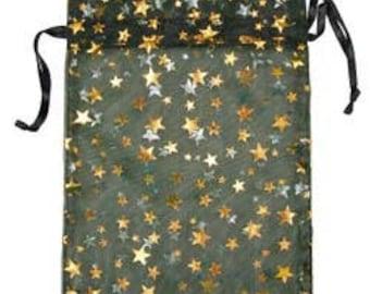 "Organza Drawstring Pouches Black & Gold Stars 4""x5"" (72 pieces) (DBX1294B)"