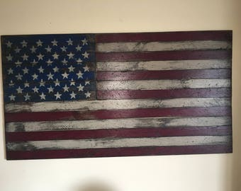 Rustic american flag etsy for Painted american flag wall art