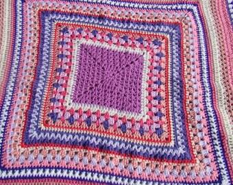 Continous Granny Square Blanket Throw
