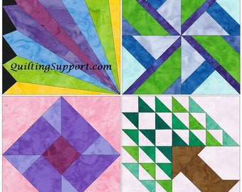 10 Inch Fun Set 1 Paper Foundation Piecing Quilting 4 Block Patterns PDF