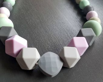 Teething Jewelry Necklace - Grey, Purple, Mint