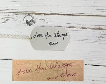 Dog Tag Handwritten Necklace - Keepsake Necklace - Memorial Handwriting necklace - Personalized Sterling Silver