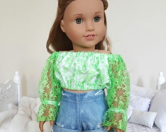 18 inch doll green lace peasant blouse | lace crop top