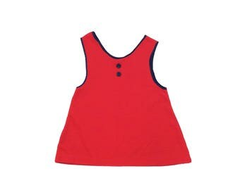 Vintage unworn girls red button front tank top tuinic age 18-24 months 1970s 70s