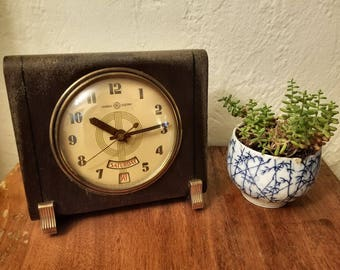 Vintage General Electric Table Clock Almanac Day Date 8H14 WORKS!
