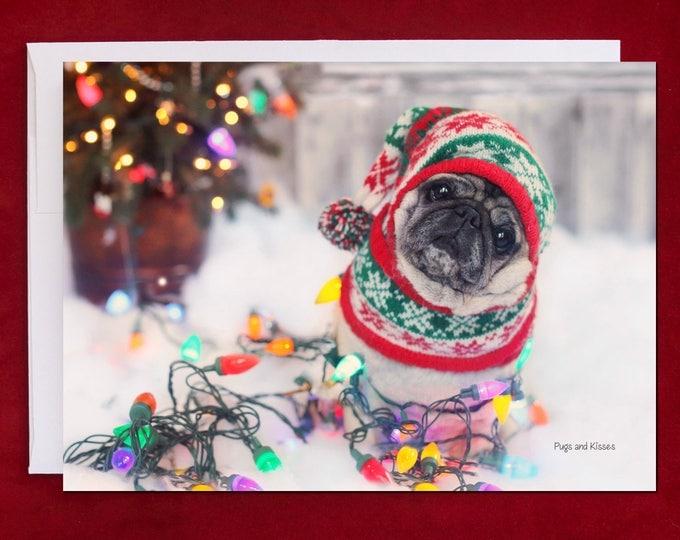 NEW Funny Holiday Card - Pug Holiday Card - 5x7 - Nailed It