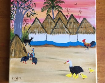Sunset in African village landscape painting