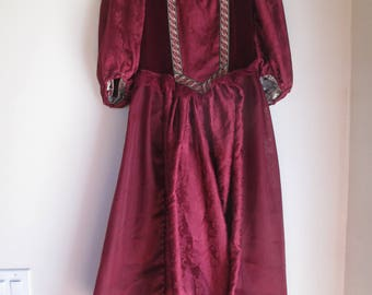 Elizabethan Dress, Period Dress, Princess dress, Maroon, Costumes, Theatre, Reenactments, One of a Kind