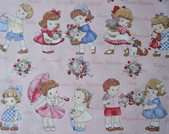 "Fat Quarter of 2016 Lecien Old New 30's Collection Spring Kids Little Names on Pink Background. Approx. 18"" x 22"" Made in Japan"
