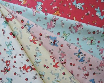 "Bundle of 1/8 Atsuko Matsuyama 30's Collection Bunnies a d Strawberries in 5 Colorways. Made in Japan Approx. 9"" x 22"" x 5pcs"