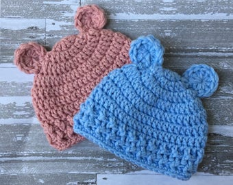 Twins Hospital Bear Crochet Hat Set, Newborn Pink and Blue Boy and Girl Hat, Photo Prop, Gender Reveal MADE TO ORDER