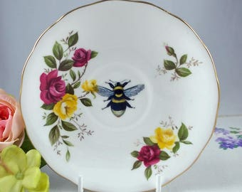 Vintage China Bee Saucer -  upcycled vintage bumble bee, honey bee, altered china, bee art, vintage decor,