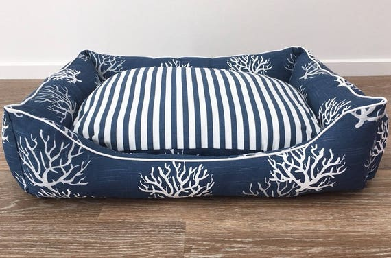 SMALL Lounger Dog Bed   - 'Navy Sea Fan' design in Navy, White and Grey sea fan print  with navy and white stripe reversable insert