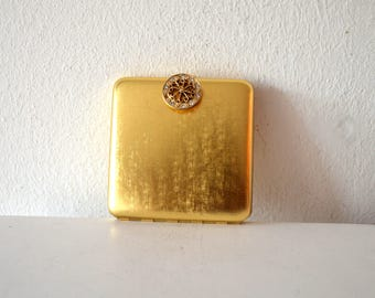 Vintage Avon Gold Mirror Make up Compact / Refillable Gold and Crystal Avon Mirror Powder Compact / Jeweled Rhinestone Clasp Make Up Compact