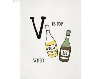Letter V Is For Vino Tea Towel Dish Cloth