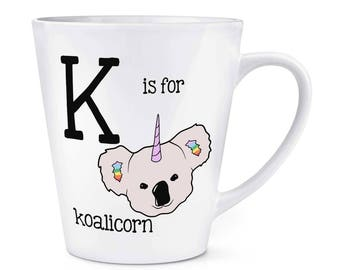 Letter K Is For Koalicorn 12oz Latte Mug Cup