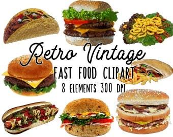 Fast food clipart retro vintage, hamburger clipart, food illustration png, food art digital collage sheet, kitchen art, menu design, flyers