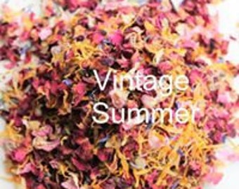Natural Real Air Dried Petals Pinks Reds Blues Cornflowers Yellow Marigolds Vintage Summer Mix Throwing Wedding Confetti Pot Pourri Soaps