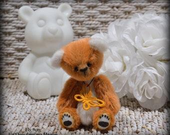 VENDU *** !! Fly ours d'artiste miniature 9cm collection 100% fait main pièce unique OOAK peluche
