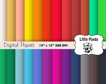 80% OFF SALE Solid Digital Paper Pack Scrapbooking Papers, 24 jpg files 12 x 12 - Instant Download - D222