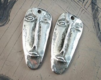 Handcast Face Charms Pewter, Handmade, Artisan, Jewelry Elements No. 612CP