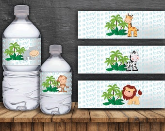 Jungle Safari Water Bottle Labels - Digital Files- Instant Download