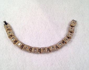 Gold Rhinestone Wedding Bracelet, Vintage Bridal Jewelry, Wedding Bracelet, Gold Bridal Jewelry, Rhinestone Wedding Bracelet