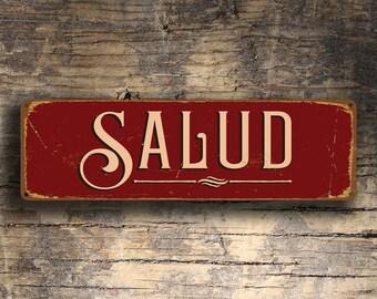 SALUD SIGN, Salud Signs, Spanish Salud, Cheers, Spain, Health, Vintage Style Spanish Salud Sign, Spanish Cheers Salus, Spanish Decor, Signs