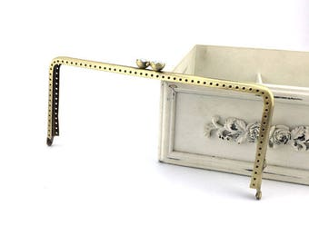 1 PCS, 20.5 cm*9 cm/ 8* 3.5 inch, Square Solid Beaded Bronze Kiss Clasp Lock Purse Frame, K399