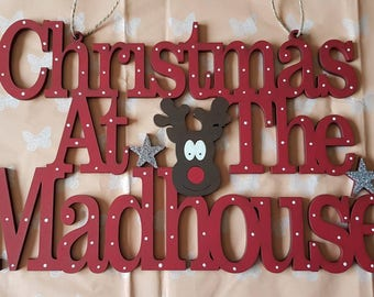 Christmas hanging decor - Rudolph- Christmas sign - ornament - Christmas decoration