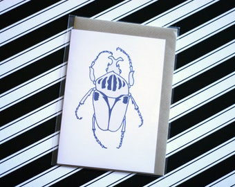Goliath Beetle - Ecofriendly Blank Greeting Card with Vegan Envelope - 100% Recycled Paper and Biodegradable Packaging