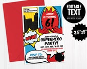 Superhero Invitation Template. Printable Superheroes Comic Book Theme Invite - Kids Birthday Party Editable Invitation - Instant Download